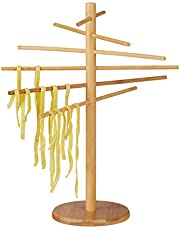 Relaxdays Secador de pasta, 12 varillas, Plegable, Para fideos & Espagueti, Bambú, Marrón