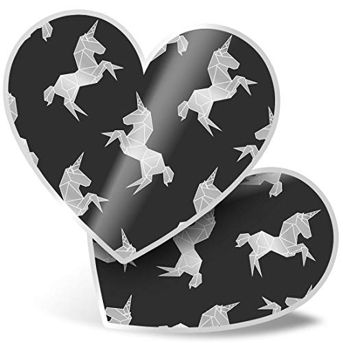 Awesome 2 x Heart Stickers 15 cm - BW - Pretty Ombre Unicorn Fun Decals for Laptops,Tablets,Luggage,Scrap Booking,Fridges,Cool Gift #35584