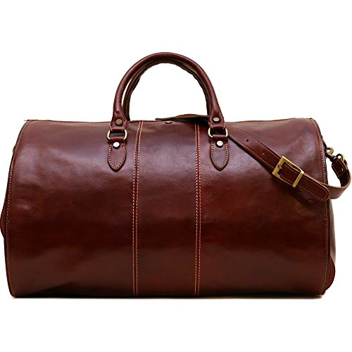 Venezia Garment Duffle Travel Bag Suitcase in Brown Full Grain Leather