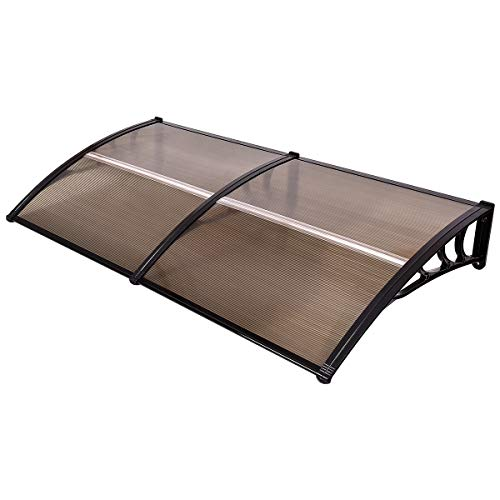Tangkula 40'x 80' Window Awning Modern Polycarbonate Cover Front Door Outdoor Patio Canopy Sun shetter 3 Colors (Brown with Black Edge)