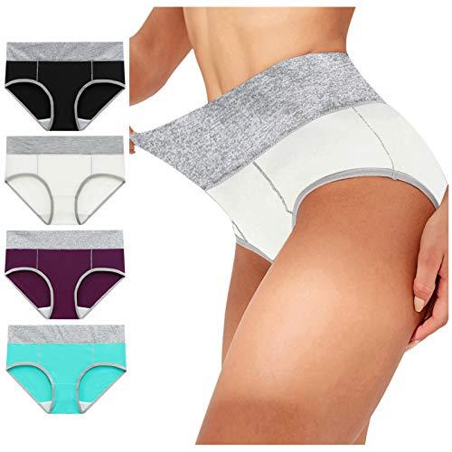 Höschen Hohe Damen Taille Baumwolle Taillenslip Frauen Einfarbig Weiche Große Größe Unterhose