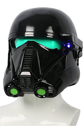 Halloween Death Trooper Helm Cosplay Kostüm Schwarz Vollen Kopf Weichem Harz Maske Replik mit LED Erwachsenen Fancy Dress Zubehör