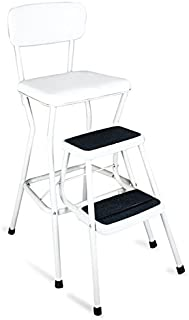 Cosco Retro White&Black Counter Chair / Step Stool with Weight capacity of 200 pounds