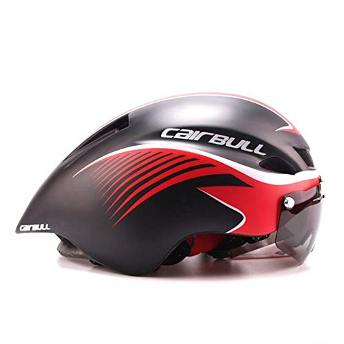 GMtes TT Fahrradhelm mit Brille, Rennrad Fahrrad Sportschutzhelm Reiten Herren Damen Racing In-Mold Zeitfahren Triathlon Helm,B