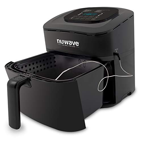 NEW & IMPROVED NuWave BRIO 6-Quart Digital Air Fryer with integrated Temperature probe includes basket divider, over 100 presets, wattage control, and advanced functions like SEAR, PREHEAT, DELAY, WARM and more (6-Quart)