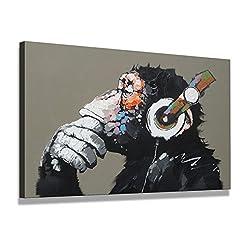 bestpricepictures 80 x 60 cm Bild auf Leinwand AFFE mit Kopfhörer 4002-SCT deutsche Marke und Lager - Die Bilder/das Wandbild/der Kunstdruck ist fertig gerahmt