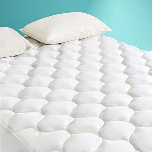 """HARNY Cooling Mattress Pad Cover Pillow Top Calking Size Ultra Cool TECH Fabric Breathable Mattress Topper Quilted Fitted with 8-21"""" Deep Pocket"""