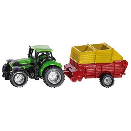 SIKU 1676, Traktor mit Pöttinger Anhänger, Metall/Kunststoff, Multicolor, Öffenbare Heckklappe