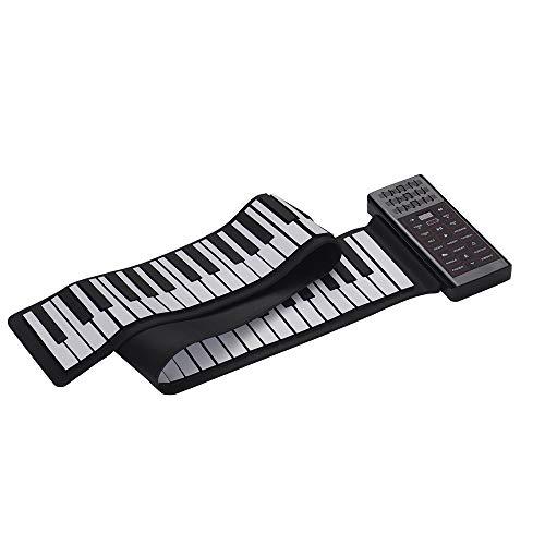 Muslady Roll Up Piano 88 Chiavi Elettrico Mano Portatile Multifunzione Piano Digitale Tastiera Incassato Altoparlante Ricaricabile Batteria al litio Funzione BT Silicone Flessibile Tastiera