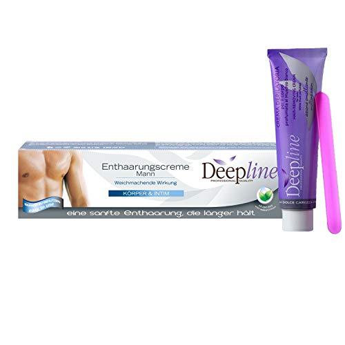 Deepline Enthaarungscreme für Männer - 150 ml - schonend sanft Haarentfernungscreme für den Mann -auch für Intim-Bereich - Hair removal cream for man men