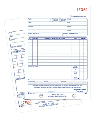 Adams Repair Order Book, Carbonless, 2-Part, White/White, 5-9/16 x 8-7/16 Inches, 50 Sets (D5084)