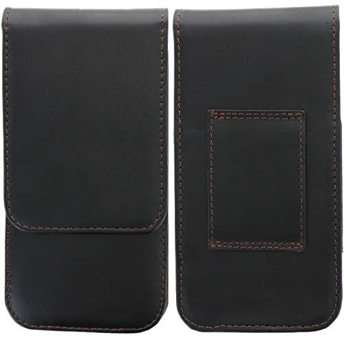 XiRRiX Leder Handy Gürteltasche für Smartphone - Tasche passend für Motorola Edge/Samsung Galaxy A21s A31 A71 M21 M31 M51 / Sony Xperia 1 II/Xiaomi Redmi Note 8 Pro / 8t / 9s / 9 Pro - schwarz
