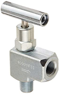 PIC Gauge NV-CS-1/4-HS-90-MXF Carbon Steel 90° Angle Needle Valve with Hydraulic Service Seat, 1/4 Male NPT x 1/4 Female NPT Connection Size, 10000 psi Pressure from PIC Gauges