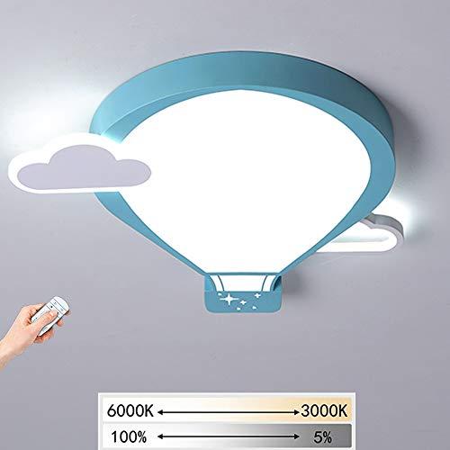 LED Kinderzimmerlampe Dimmbar mit Fernbedienung Heißluftballon Design Deckenleuchte Junge Mädchen Schlafzimmer Kindergarten Dekoration Deckenlampe Kreative Beleuchtung Kinderlampe 29W 2030LM,Blau