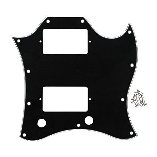 Golpeador de guitarra Fleor placa completa para rayones SG con tornillos para guitarra estilo Gibson, 3ply black/white/black
