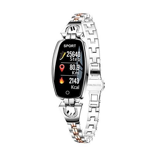WSGYX Intelligente Uhr Frauen Für Android IOS wasserdichte Fitness Armband Lady Smartwatch Sleep Heart File Monitor Geschenk H8 (Color : Silver)