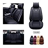 OASIS AUTO Leather Car Seat Covers, Faux Leatherette Automotive Vehicle Cushion Cover for Cars SUV Pick-up Truck Universal Fit Set for Auto Interior Accessories (OS-011 Full Set, Black)