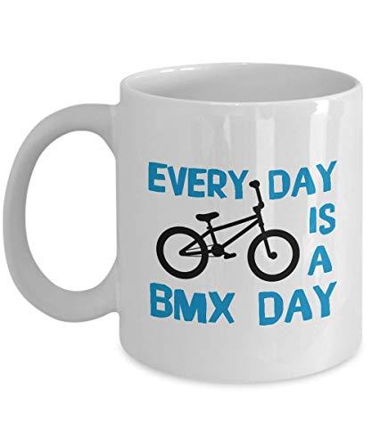 Regalos para los amantes de los ciclistas de BMX: 'Cada día es un día de BMX' Ciclista divertido único, acrobacias de BMX, motocross, deportes extremos, ciclismo, taza blanca, taza de café de cerámica