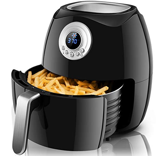 Costzon Electric Air Fryer, 4.8 Qt. 1500W Air Frying Technology w/LCD Screen, Temperature and Time Control, UL Certified, Extra Large Capacity (Black)