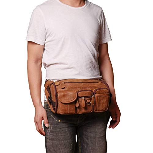 N\C Bolso de cuero para hombre, bolso de cuero nobuck para mujer, bolso de hombro para deportes al aire libre, bolso de mensajero multifuncional