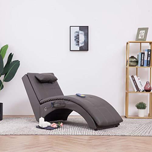 Festnight- Massage Relaxliege mit Kissen   Wohnzimmer Liegesessel   Modern Relaxsessel   Liegestuhl   Sofaliege   Polsterliege   Weiß/Grau Kunstleder und Holzrahmen mit Stahlbeine 145 x 54 x 72 cm