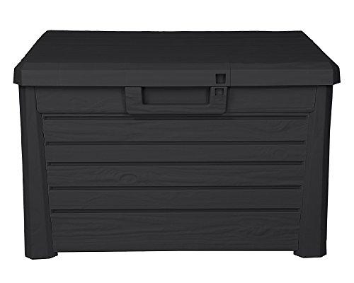 Ondis24 Kissenbox Florida Holz Optik Sitztruhe Auflagenbox Poolbox 120 Liter XL mit Gasdruckfedern (Kompakt, Anthrazit)
