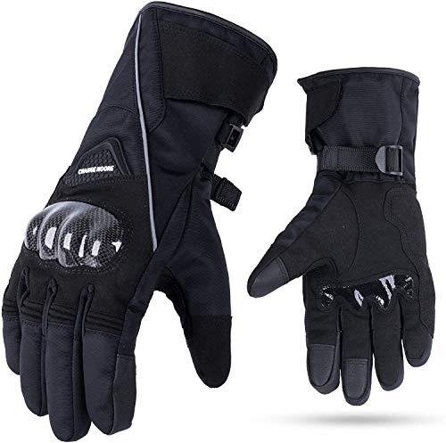 Motorradhandschuhe Winter 3M Thinsulate, Winddicht Wasserdicht Handschuhe Schwarz XL