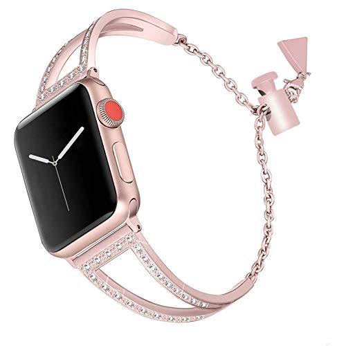 CHENPENG Edelstahl Metallband Kompatibel mit Apple Uhrenarmband 38mm 40mm / 42mm 44mm Serie 4/3/2/1, Frauenrhinestone Ersatzgurt,Rosa,38mm