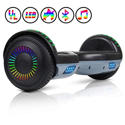 """Huanhui Hoverboard Ruedas de 6.5"""" Patinete Eléctrico Scooter, Potente batería de Litio 2 * 300W, Certificado UL Self-Balancing Scooter Monopatín eléctrico Smart Self Balance Board, Blanco"""