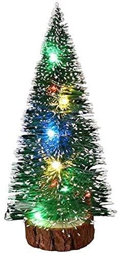 LSDRALOBBEB árbol de Navidad Adornos Mini árboles de Navidad de sobremesa con Luces LED Multicolores para el hogar y la Oficina 826(Size:15cm)
