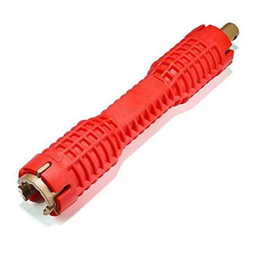 SENRISE llave multiusos para fregadero, llave de tubo de fontanería, llave de lavabo, llave de cambio para fontaneros y dueños de la casa, instalación en el baño o la cocina (Paquete de 1), rojo