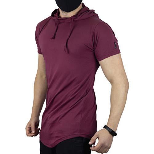Camisa Longline Oversized Com Capuz Swag Básica C32 Vcstilo (BORDO, M)