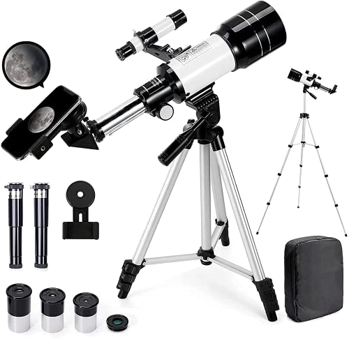 Telescope for Adults, 70mm Aperture 300mm AZ Mount Astronomical Refracting Telescope for Kids Beginners (15X-150X) - Travel Telescope with Adjustable Tripod, Phone Adapter, Backpack