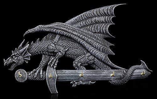 Tablero de Llaves - Dragones Figura sobre Espada Decoración Gótica Teclado