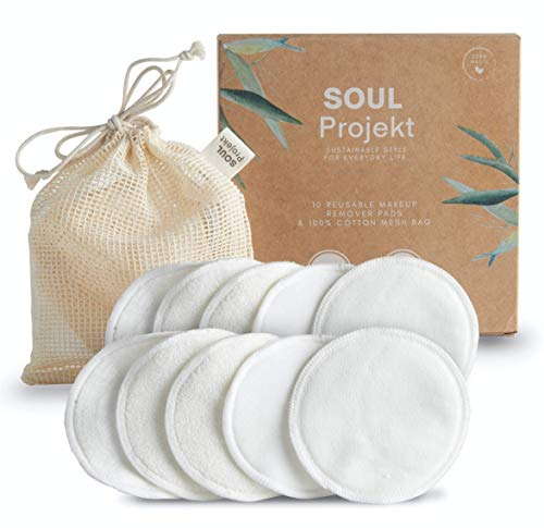 Soul Projekt 10 pcs Disques Démaquillants Réutilisables en Bambou, Lingette Démaquillante Lavable Bio, Coton Pads, avec Sac de Lavage, écologique