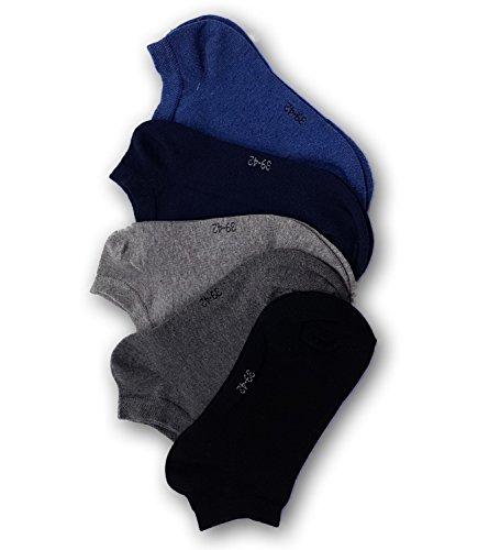 Sympatico Herren 30103 Sneakersocken 5er-Pack Baumwolle Mehrfarbig Stretch, Groesse 39/42, 1x jeans/1x marine/1x schwarz/2x grau