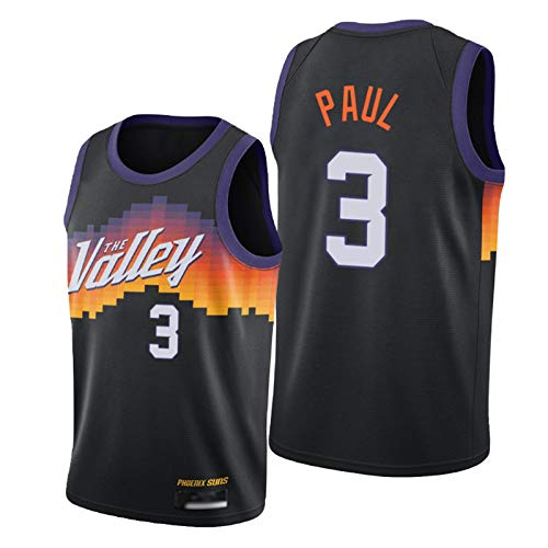 XGMJ Camiseta de baloncesto Paul para hombre, Suns 3# 2021 New Season Chaleco deportivo para hombre, transpirable y de secado rápido, color negro