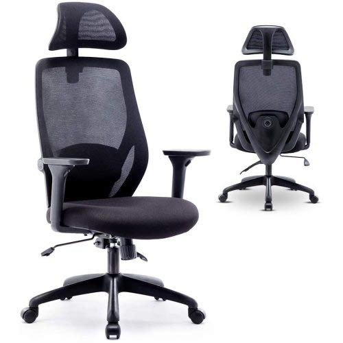 Ergonomic Office Chair - Mesh Chair Heavy Duty Office Chair - Adjustable Headrest and Armrest - LieLangSpace Home Office Chair with Tilt Function and Position Lock Black