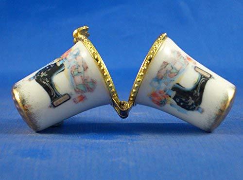 Dé à coudre en porcelaine à collectionner Motif machine à coudre