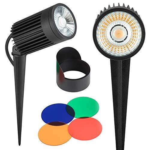 AdLuminis LED Gartenstrahler Mit Erdspiess Und Farbfilter-Set | 3W bis 30W Spot Außenstrahler Schwenkbar, Staub- und Wasserdicht nach IP67 | Gartenlampe Mit Strom-Kabel 1m (Gartenleuchte 30W)