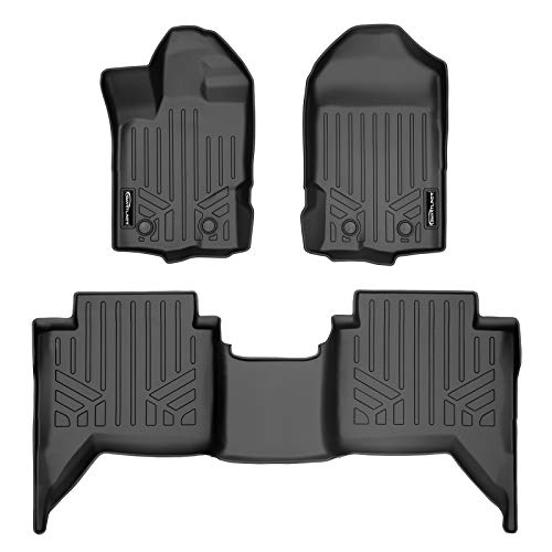 MAXLINER Custom Fit Floor Mats 2 Row Liner Set Black for 2019-2021 Ford Ranger SuperCrew Cab