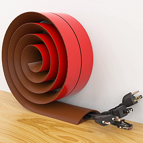 """Txbizzer Floor Cord Cover Self-Adhesive Silicone, Wider Cable Protector, Cord Organizer for Wires in High Traffic Area, Strong Adhesion for Offices, Homes, Workshops, Warehouses(Brown)(10' L x 2 3/4"""")"""