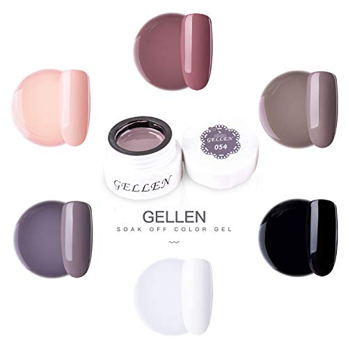 Gellen UV LED Gel Nail Polish Set- Professional Nail Art Japan Gel Series Full Coverage Solid Colors Gel Manicure, Understated Elegance