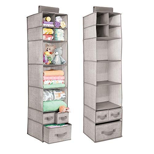 mDesign Organizadores de armarios Colgantes - Juego de 2 estanterías de Tela con baldas y cajones – Ideal para Ropa y Accesorios de bebé, para la habitación Infantil o la Entrada – Color Beis