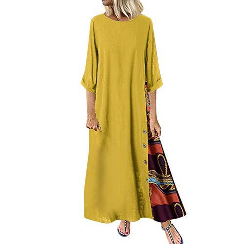 Damen Blumenmädchenkleider Baby Bekleidung Mädchen Einschulungskleider Mädchen Maxikleider Sommer Kleid Damen Sommer Lange Kleider Damen Sommer Kleider Elegant Mini(Gelb,5XL)