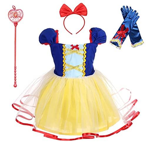Lito Angels Disfraz de Princesa Blancanieves con Accesorios para Bebé Niñas Vestido de Fiesta de Cumpleaños Halloween Carnaval Falda de Tul Ropa de Verano Casual Talla 12-18 Meses 102