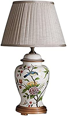 Zenghh Victoria Renaissance Lampe de chevet élégante porcelaine blanche en céramique chinoise lampe de table orientale antique oiseau arbre lumière lumière avec cordon certifié ensemble gradation pour