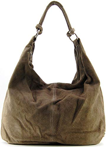 OH MY BAG, borsa modello Love-in vera pelle di vitello nubuck-portato, spalla e mano, made in Italy, per donna, il must have di quest'autunno inverno, taglia unica, (Taupe Foncé), Taglia unica