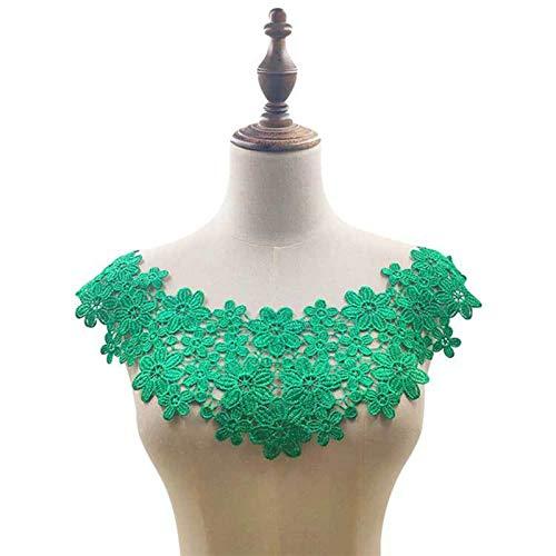Ztengyu-Cuello de imitación Cuello Falso de Aplique de Tela, Cuello de Encaje de Flores de Bordado, Collar de Cinta de guipur Accesorios de Ropa (Color : Green)