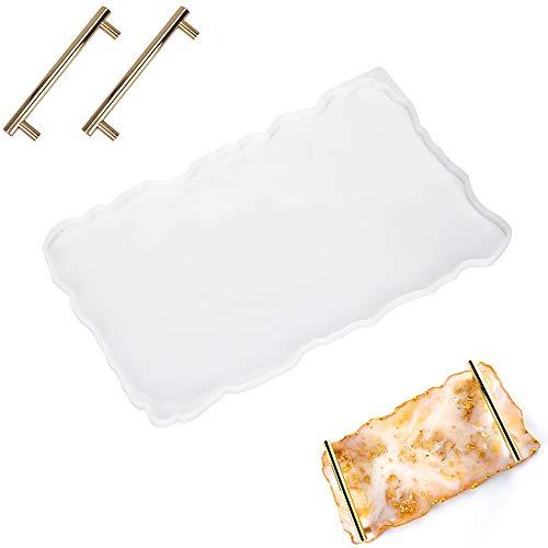 Bandeja de silicona rectangular grande con 2 asas doradas como tabla de servir, moldes de ágata, moldes de fundición de resina epoxi